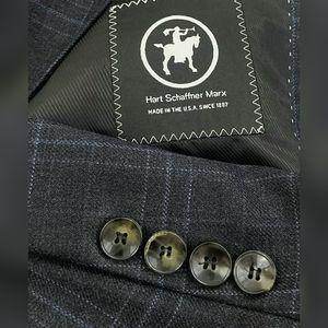 Hart Schaffner Marx Blue Plaid Sport Coat Blazer